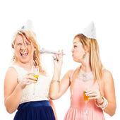 Funny women celebrating — Stock Photo