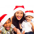 Funny Christmas family — Stock Photo