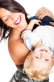 Happy woman playing with child boy — Stock Photo