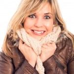 Ecstatic woman in winter jacket — Stock Photo #15235833