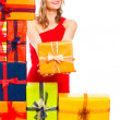 Happy Christmas woman with gift — Stock Photo