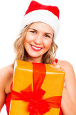 Happy Christmas woman with present — Stock Photo