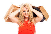 Attractive blond happy woman shopping — Stock Photo