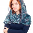 Sad woman in headscarf — Stock Photo