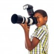 Child photographer with professional camera — Stock Photo