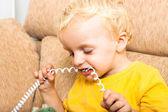 Dítě kousání telefonní drát — Stock fotografie