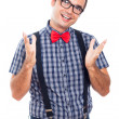 Happy geek gesturing — Stock Photo
