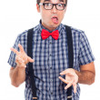 Crazy nerd man — Stock Photo