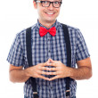 Stock Photo: Ecstatic nerd man