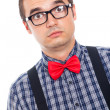 Stock Photo: Surprised serious nerd man