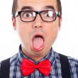 Crazy nerd man face — Stock Photo