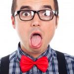 Crazy nerd man face — Stock Photo