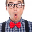 Surprised nerd man face — Stock Photo #18299043