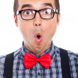 Surprised nerd man face — Stock Photo