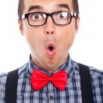 Surprised nerd man face — Stock Photo