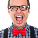 Crazy nerd man laughing — Stock Photo #18299103