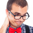 Disappointed worried nerd man — Stock Photo #18299617