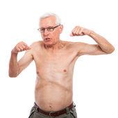 Naked senior man gesturing — Stock Photo