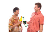 Drunken men with bottle of alcohol — Stock Photo