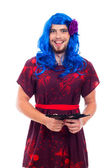 Happy transvestite portrait — Stock Photo