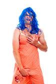 Hilarious transvestite man cross-dressing — Stock Photo