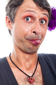 Funny transvestite face — Stock Photo
