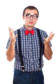 Nerd man gebaren — Foto de Stock