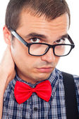 Serious worried nerd man — Stock Photo