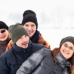 Happy friends in winter — Stock Photo #19417543