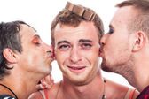 Funny transvestites kiss — Stock Photo