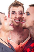 Funny transvestites sticking out tongue — Stock Photo