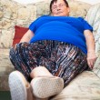 Stock Photo: Obese senior womsleeping