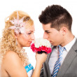 Wedding couple with flower — Stock Photo