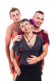 Laughing transvestites portrait — Stock Photo