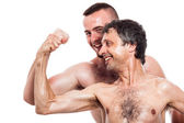 Funny shirtless men compare biceps — Stock Photo
