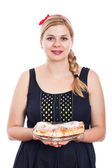 Happy woman with sweet strudel — Stock Photo