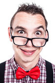 Funny nerd face — Stock Photo