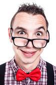 有趣的书呆子的脸 — 图库照片