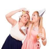 Funny drunken girls celebrate — Stock Photo