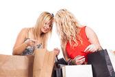 Meninas felizes compras — Fotografia Stock