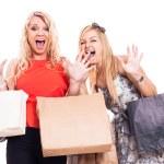 Crazy girls shopping — Stock Photo
