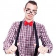 Nerd man with suspenders — Stock Photo
