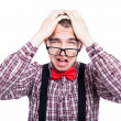 Unhappy nerd man — Stock Photo