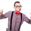 Crazy nerd grimacing — Stock Photo