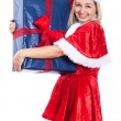 Happy Christmas woman with big present — Stock Photo