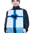 Ecstatic man with big present — Stock Photo #28853975