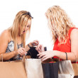 Excited girls shopping — Stockfoto