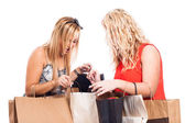Excited girls shopping — Stock Photo