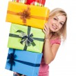 Happy woman with presents — Stock Photo #29276183
