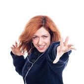 Ecstatic woman with earphones — Stock Photo